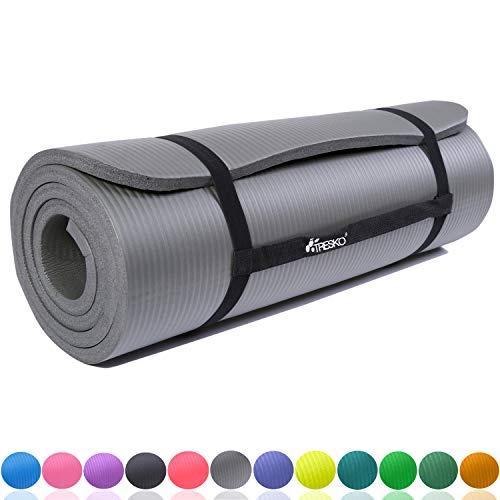 TRESKO Fitnessmatte Yogamatte Pilatesmatte Gymnastikmatte in 6 Farbvarianten / Maße 185cm x 60cm in 2 Stärken / Phthalates-getestet / NBR Schaumstoff / hautfreundlich, anschmiegsam, kälteisolierend (Grau, 185 x 60 x 1 cm)