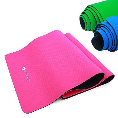 """Yogamatte """"Yoga Star"""" von Sportastisch :: Farbe PINK :: 100% ökologisch abbaubares TPE Material :: extra breit: 181 x 61 x 0,6 cm :: Innovativer 2-Phasen Aufbau für perfekten Halt :: 2 Oberflächen mit unterschiedlichen Farben und Strukturen :: geprüfte Markenqualität, ideal Einsteiger oder Profis :: exzellent geeignet für Yoga, Pilates und Gymnastik :: Exklusives Design :: Absolut RUTSCHFEST :: BONUS: eBook rund um das Yogatraining :: inklusive 3 Jahren Sportastisch Produktgarantie"""