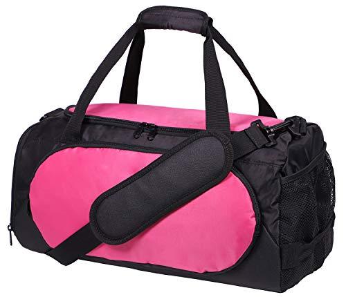 MIER Sporttasche Sport Duffel f¡§1r M?nner und Frauen mit Schuhfach, 25L,Pink