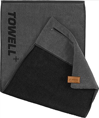 """STRYVE Towell plus V2 + Sporthandtuch mit Tasche und Magnetclip, in 7 Farben - Bekannt aus """"Die Höhle der Löwen"""" (Platinum Grau-Beige)"""